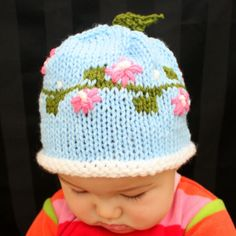 Spring Cherry Blossom Flowers Baby knit hat by May Phang, The Createry Shop.