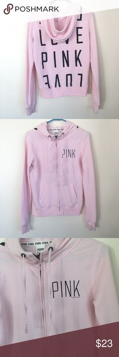 "VS PINK Hoodie Sweatshirt Zip-Up Sweater Top Light pink sweatshirt by PINK Victoria's Secret! Full zip-up. Hooded hoodie style. Long sleeves. 2 front pockets. Soft, fuzzy inside. The zipper still works but is missing the handle to the zipper - a paper clip can be used instead, or it could be replaced. Otherwise I just pull the zipper up & down using my fingers & it works fine. Otherwise in nice condition! Black ""LOVE PINK"" written on the back. ""PINK"" written on front chest. Super cozy & for…"
