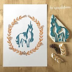 Unicorn no 3 #bymamalaterre #handcraved #handcravedstamp #unicorn #handprinted #stampart