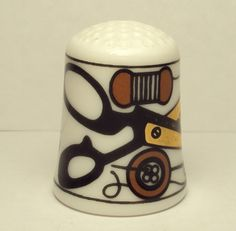 Unique Bone China Thimble with Sewing Items ...