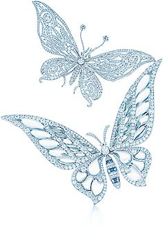 Tiffany butterfly brooches with diamonds