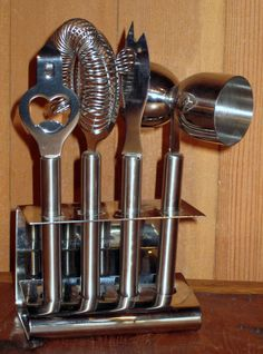 Bar Tools W/ Rack, Modern Stainless Steel Bar Tool Set - Warner Bros. Property Department