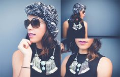 ATW - Shop black and white paisley turban/wrap & blue and silver statement necklace