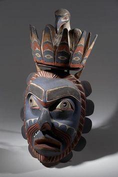 Unknown Kwakwaka'wakw artist, Nightmare Bringer's mask, late century, 97 x 49 x 34 cm; American Museum of Natural History Native American Masks, Native American Artwork, Arte Tribal, Tribal Art, Arte Haida, Inuit Art, Tlingit, Cool Masks, Masks Art