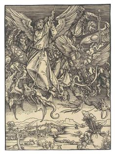 Albrecht Durer (1471-1528) Saint Michael Fighting The Dragon 1498 (390 x 283 mm)