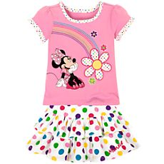 Rainbow Minnie Mouse Skirt Set for Toddler Girls -- 2-Pc.