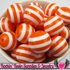 20mm ORANGE Striped Beads (10 pieces) GUMBALL Chunky Beads
