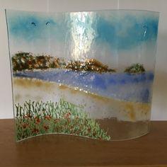 Handmade Fused Glass Plaque Sea Ocean Beach by WarmGlassFusion