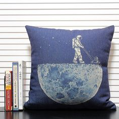 cotton linen Fabrics shade pillow pillow sham Science fiction style Pillow Cover pillow pattern cushion cover Moon sweeper pillowcase on Etsy, $14.99