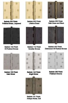Hardware Finish Reference Guide - good to know.