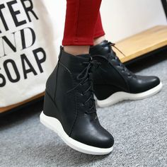 The boots feature round toe, wedge heels, lace up and zipper closure.This shoes suitable with all kinds of clothing and for virtually every occasion. Wedge Heel Boots, Wedge Sneakers, Bootie Boots, Shoe Boots, Cute Shoes, Me Too Shoes, Shoe Wall, Lace Up Wedges, High Heels