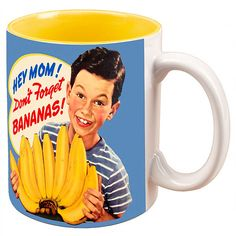 Dont Forget Bananas 50s Boy Vintage Ceramic Coffee Mug ($8.49) ❤ liked on Polyvore featuring home, kitchen & dining, drinkware, ceramic mugs and ceramic coffee mugs