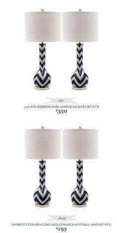 #CopyCatChicFind #LuluandGeorgia Zimba Lamps $350 - vs - #Overstock #Chevron Ceramic Black #Table #Lamp $193