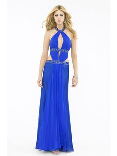 Blue Chiffon Sequined Neckline Sleeveless Floor-Length Evening Dress