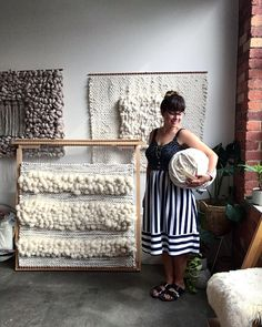 of 16 piece collection. Listening to Japanese jazz from the and Imagining I am on a mountain top. My body is beginning to hurt-… Weaving Textiles, Weaving Art, Loom Weaving, Tapestry Weaving, Hand Weaving, Weaving Wall Hanging, Wall Hangings, Window Hanging, Loom Board