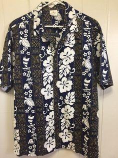 20d02d72 Aloha republic hawaiian shirt XL 100% Cotton blue white and gold #fashion  #clothing