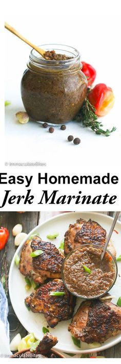 You'll never want store-bought Jerk Marinade after making this super easy, no-fuss homemade version! It's so easy and hits the spot (Overnight Chicken Marinade) Jamaican Cuisine, Jamaican Dishes, Jamaican Recipes, Jamaican Jerk Sauce, Curry Recipes, Sauce Recipes, Homemade Seasonings, Homemade Sauce, Homemade Butter