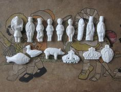 15 vintage french feves Nativity White porcelain by 5LittleCups