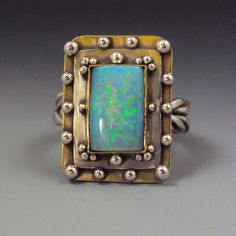 Handcrafted Opal Ring Rectangular Opal Ring Opal jewelryby danaevansstudio on Etsy, #affiliate