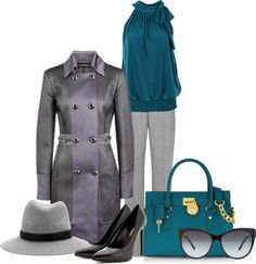 """gray and teal"" by martina-hel ❤ liked on Polyvore"