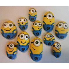 Ideas Painting Rocks Minions For 2019 Rock Painting Patterns, Rock Painting Ideas Easy, Rock Painting Designs, Painting For Kids, Minions, Minion Art, Pebble Painting, Pebble Art, Stone Painting