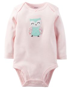 Crafted in soft cotton with expandable shoulders, this sweet bodysuit is a tummy time favorite. Pull-on pants complete this easy outfit.