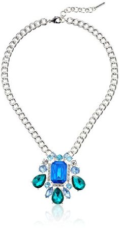 """Nine West """"Party Time"""" Silver-Tone and Blue Drama Pendant Necklace -- $42"""