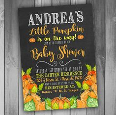 Little Pumpkin Baby Shower invitations Halloween Baby Shower