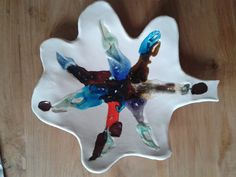 ceramic plate Leaf with melted glass