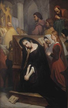 Ary Scheffer (Dordrecht Argenteuil) , Marguerite in the church English Artists, Dutch Artists, Goethe's Faust, Kneeling In Prayer, Lawrence Alma Tadema, Amber Tree, Our Lady Of Sorrows, Tate Gallery, Mystique