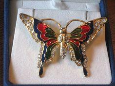 """Vintage ENAMEL RHINESTONE BUTTERFLY Brooch Pin - Costume Jewelry 2 1/2"""" - Estate"""