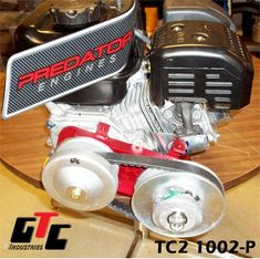 GTC Torque Converter for Predator engine. Install this on a Predator Predator has a shoulder at the crankshaft base that sits about in. lower than a Honda or Clone engine. You will need Part Predator Crank Washer is included in. this kit Mini Jeep, Mini Bike, Gi Joe, Vintage Go Karts, Go Kart Kits, Go Kart Engines, Quad, Bicycle Engine Kit, Prank Toys