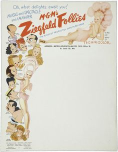 Letterhead produced and used by MGM to promote the film Ziegfeld Follies. The cast - caricatures of which can be seen on the left-hand side - was phenomenal and included, amongst others, Fred Astaire, Gene Kelly, Lucille Ball and Judy Garland. Ziegfeld Follies, 1945 | Source