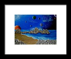 Framed Art Print,  planets,cosmos,space,universe,world,coastal,scene,dark,night,chaos,cosmic,earth,galaxy,sea,ocean,water,beach,comets,rocks,stones,sandy,fantasy,blue,beautiful,image,fine,oil,painting,contemporary,scenic,modern,virtual,deviant,wall,art,awesome,cool,artistic,artwork,for,sale,home,office,decor,decoration,decorative,items,ideas