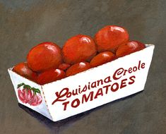 Louisiana Creole Tomatoes Acrylic Print by Elaine Hodges. All acrylic prints are professionally printed, packaged, and shipped within 3 - 4 business days and delivered ready-to-hang on your wall. Louisiana Creole, Louisiana Art, Thing 1, Down South, Fruit Art, Oui Oui, Edible Garden, Mixed Media Canvas, Food Illustrations