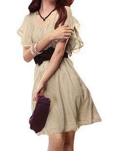 Allegra K Women Scoop Neck Elastic Waist Chiffon Dress w Cinch Belt Beige XS Allegra ************* 13$ free shipping