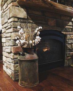 Milk Can & Cotton. Rock Fireplace