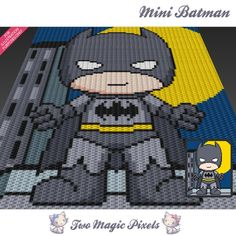 Mini Batman is a graph pattern that can be used to crochet a children blanket using C2C (Corner to Corner), TSS (Tunisian Simple Stitch) and other techniques. Alternatively, you can use this graph for knitting, cross stitching and other crafts.  This graph design is 80 squares wide by 100 squares high.  It requires 8 colors for the character and 3 extra color for the background. As seen in the sample images above, there is a second graph with exaggerated colors for easier reading (the many…