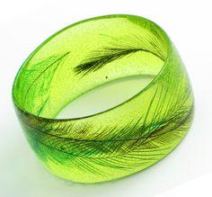 lime peridot green hand made resin bracelet bangle