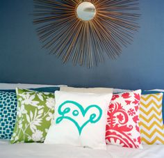 Love Print Pillow Cover in Aqua by bexcaliber on Etsy, $19.00