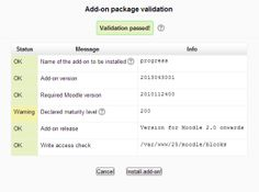 Add-on package validation in Moodle 2.5