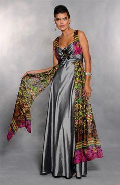 Vestido longo romântico com alças e faixas em musseline estampada. Cod. 7027