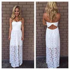 Long white strapless summer dress w/open back