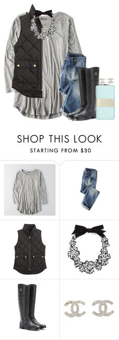"""""""link to my contest rules in d!!!"""" by econgdon ❤ liked on Polyvore featuring American Eagle Outfitters, Wrap, J.Crew, Tory Burch, Chanel and Kate Spade"""