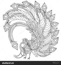 Antistress King Peacock Coloring Stockvektorillustration 404070724 : Shutterstock