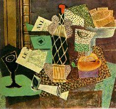 """""""Verre et bouteille de rhum paille"""", huile sur toile de Pablo Picasso (1881-1973, Spain)"""