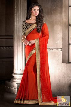 Bring out the classiness within you with this chic orange velvet party wear designer saree. Impress the world with your unique style. 3610 Rs.    http://www.pavitraa.in/store/party-wear-saree/ #partywearsaree, #designersaree, #festivalsaree, #saree, #designerblouse, #onlinesaree, #emboiderysaree, #bollywoodsaree, #discountoffer