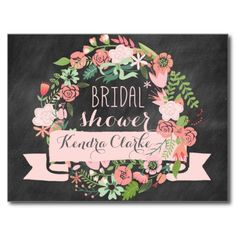 Chalkboard style with floral wreath in peaches and pinks. ♥ More bridal shower invitations at http://www.zazzle.com/bridal+shower+invitations?ps=120&rf=238252963030229232&tc=wpz ♥
