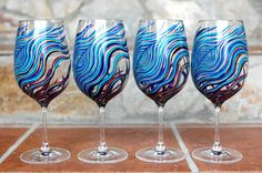 Amethyst and Sapphire Peacock Wine Glasses--Set of 4 hand-painted by Mary Elizabeth Arts