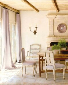 Lavender mix with warmth of stone and wood. Love the quietness.